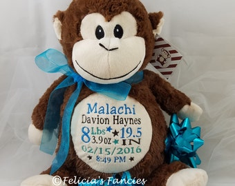 Monkey baby gift etsy personalized baby gift personalized stuffed animal monkey cubbie stuffie with birth announcement by felicias negle Images