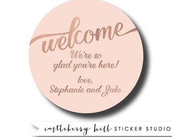 Welcome basket stickers, welcome basket tag welcome bag sticker welcome bag gift tag faux rose gold sticker rose gold favor blush wedding