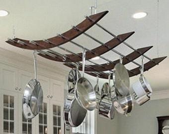 Reclaimed Wood and Metal Pot and Pan Rack
