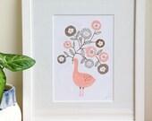 Peach Goose 2-colour original screen print A5