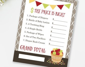 Apple Baby Shower The Price Is Right, Baby Shower Game, Bushel of Fun Theme, Fall Baby Shower, Gender Neutral Game, INSTANT DOWNLOAD, #F1