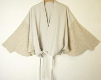 V.L.F Off-White Sand Sculpted Grecian Statue Kimono Wrap Blouse