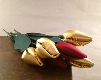 Vintage fabric tulips Set of 6 Handmade flowers Home decor Golden red tulip set