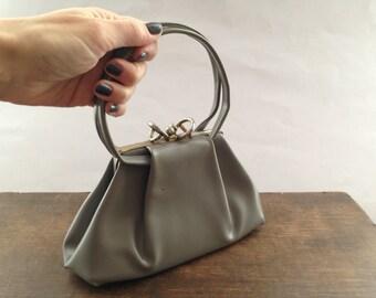 Vintage classic handbag for ladies Small gray handbag Classic accessory Retro purse