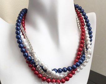 Red White and Blue Pearl Necklace, Patriotic Necklace, Patriotic Jewelry, Chunky Necklace, Pearl Jewelry, Patriotic Gift, July 4th Jewelry