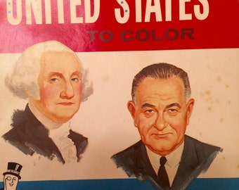 Vintage coloring book, Presidents, Saalfield, 1965, Mr. Peanut, advertising premium