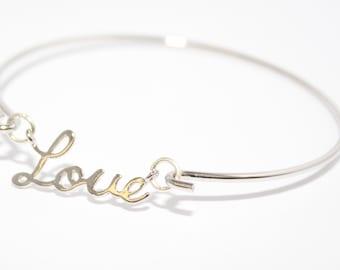 Silver Bracelet Silver Love Bracelet Statement Bracelet Slogan Bracelet