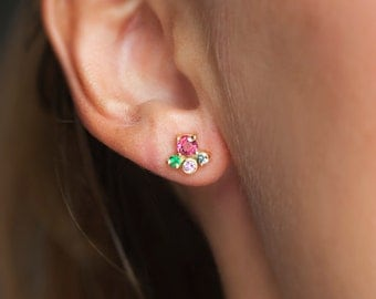 Gold Cluster Earrings, Sapphire and Emerald Cluster Earrings, Pink Earrings, Colorful Earrings, Fun Studs, Anniversary Gift, Cluster Studs
