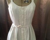 Vintage 1970s Lanz White Sheer FESTIVAL Crochet Lace Button Down Full Skirt Pocket Sun Dress Xs S
