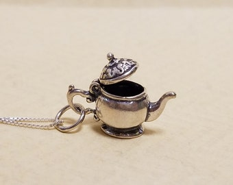 Sterling Silver Openable Teapot Necklace