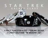 STAR TREK Galaxy Class Tungsten and 925 Sterling Silver 2 Carat CZ Wedding Ring Set, 8mm Star Fleet Insignia - 4 Piece Set