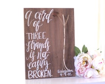 A Cord of Three Strands Rustic Wedding Sign, 3 Cord Ceremony Sign, Rustic Wedding Decor, Wedding Keepsake Sign