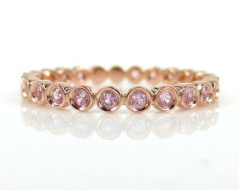 2.2mm Bezel Set Round Light Pink Sapphire  Eternity Band in 18k Rose Gold - Stacking Rings