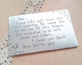Father of the bride gift, Wedding day wallet insert, Thank you wedding gift, Walking down the isle, Walk with me hand stamped Gift for Dad