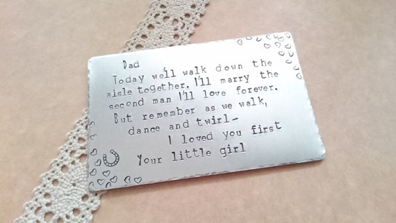 Father Of The Bride Gift Wedding Day Wallet Insert Thank You