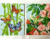 Pair of 1970s Paint by Numbers Butterflies Hummingbird Bamboo Hibiscus PBN Retro Wall Art