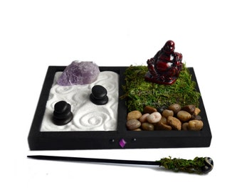 Mini Zen Garden // Laughing Buddha Statue // Desk Accessory // Terrarium // Rough Amethyst Quartz Crystal // DIY Zen Kit // Meditation