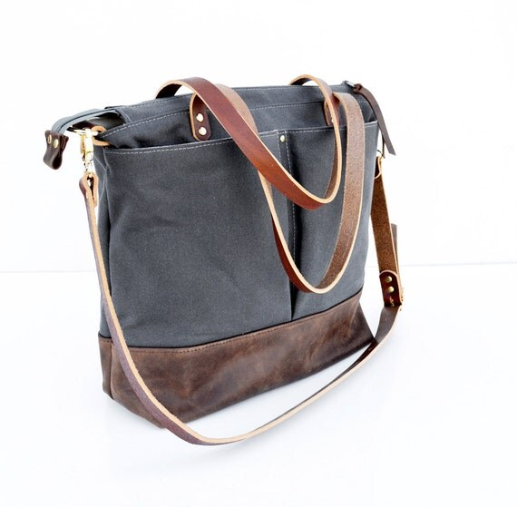 grey waxed canvas and dark brown leather diaper bag by forestbags. Black Bedroom Furniture Sets. Home Design Ideas