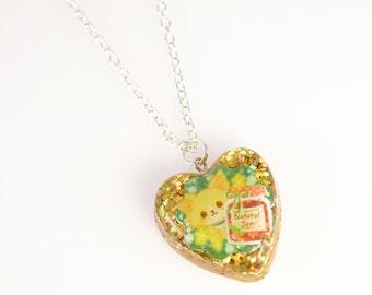 Kawaii Kitten and Jam Sticker Glitter Resin Necklace