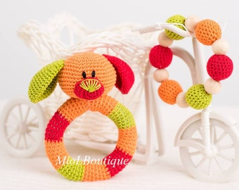 Baby rattle SET of 2 Crochet Baby toy Grasping Teething Toys Dog Teether Stuffed toys Gift for baby Girls Boys gift