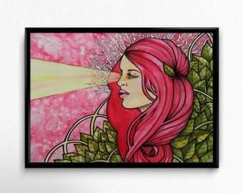 Art Print, Visage, Illustration, Home Decor, 5x7 or 11 x14 inches