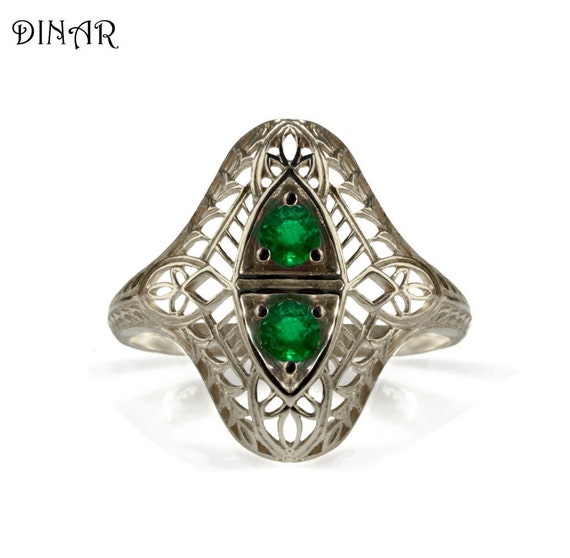antique emerald engagement ring 14k 18k white by dinarjewelry