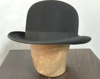 Vintage 1920s Knapp-felt Bowler Hat Size Small