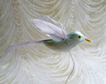 Vintage Bird Millinery Decoration Pale Blue Feathers for Hats Fascinators Crafts Hair Clips
