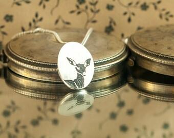Pendant necklace Oval, moose, reindeer, deer, Sterling Silver engraved brushed, hand made jewelry
