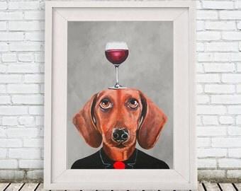 Daschund Print, daschund Illustration Art Poster Acrylic Painting Kids Decor Drawing Gift, Dog with wineglass