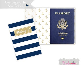 Personalized Passport Cover - Heavy Vinyl with Cardstock Insert - You Choose Colors & Personalization Style - US Passport - Anchors - Boater