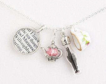 Sense and Sensibility Tea Necklace - Jane Austen Necklace - Literary Jewelry - Jane Austen Jewelry - Tea Jewelry - Jane Austen Tea