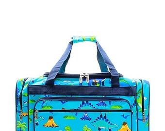 Monogrammed Dinosaur Duffel Bag