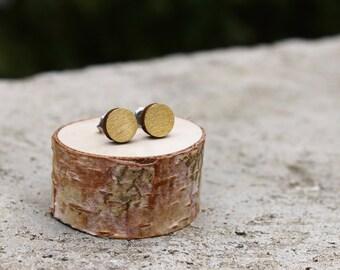 Geometric Wood Earrings // Gold Earrings // Wood Earrings // Circle Earrings // Gold Studs