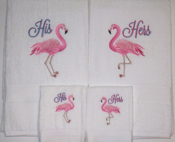 His And Hers Flamingo Towel Set Pink Flamingos Embroidered