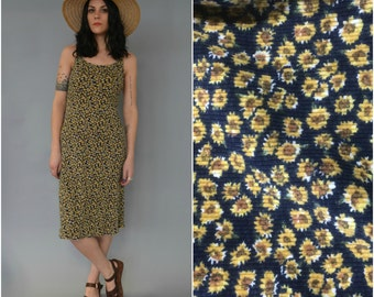 1990s ribbed cotton sunflower midi dress