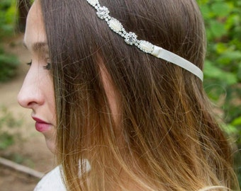Bridal Pearl Hairband - Ivory - Pearl Headband - Tie back