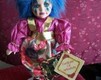 Harlequin Clown Doll Blue Hair Porcelain Collectible Mardi Gras