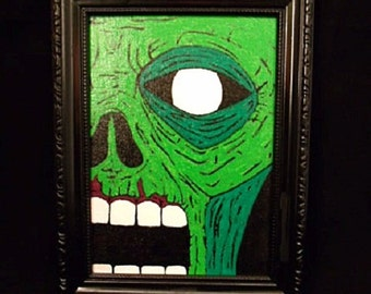 Original Acrylic Zombie Painting on 5x7 Canvas Panel with Black Frame