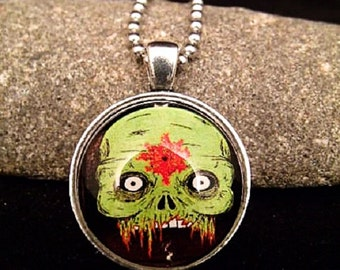 "Scary Zombie Painting Pendant with 23"" Silver Ball Chain Necklace"