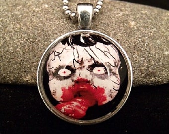 "Creepy Silver Zombie Pendant with 23"" Ball Chain Necklace"