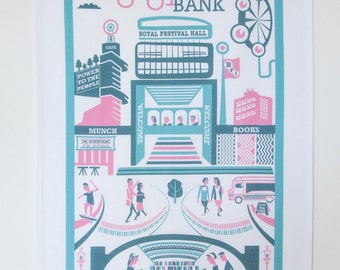 South Bank tea towel / London illustration / London print