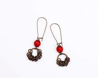 Coral earrings,  Christmas earrings, Brass earrings, Red coral earrings, Red Earrings, Christmas gift ideas, Gift for her, Dangle earrings