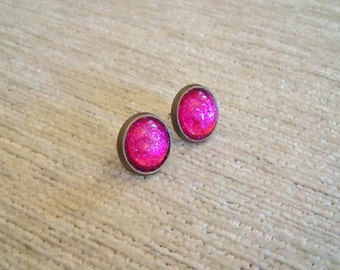 Vintagestyle Pink Pixie Dust Earstuds Earrings Pink Berry Round Sparkling