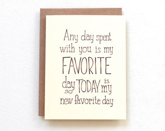Winnie the Pooh quote card, today is my new favorite day, handmade romantic card, friendship/best friend card engagement/anniversary card