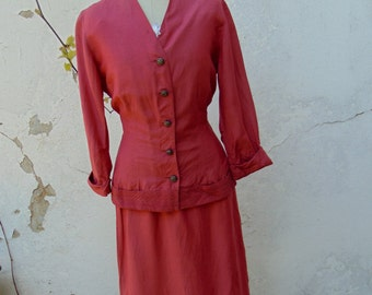Vintage 1940s 1950s Silk Raspberry Pink Suit Skirt & Jacket