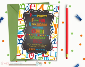 Alphabet Birthday Invitation, First Birthday Invitation, ABC's Birthday Invitation, First Birthday Party, Chalkboard Birthday Invitation
