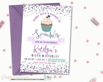 Cupcake Birthday Invitation, Purple Birthday Invitation, Sprinkles Birthday Invitation, Sprinkles, Cupcake, Birthday Invitation