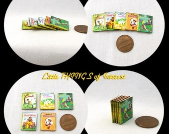 5 DISNEY GOLDEN BOOKS Miniature Book Dollhouse 1:12 Scale Prop Books Snow White Bambi 101 Dalmatians Pinocchio Sleeping Beauty Faux Books