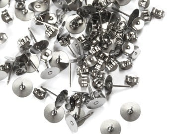 50 Pairs: 8mm Surgical Steel Earring Posts with Backs